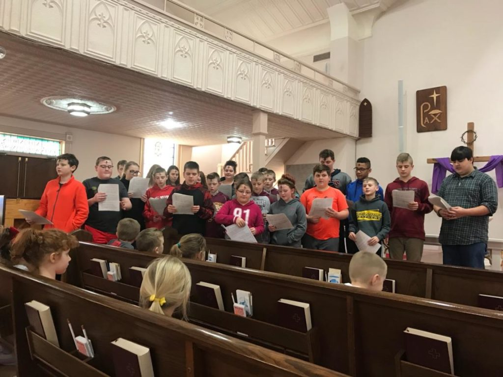 Ash Wednesday School Choir Singing